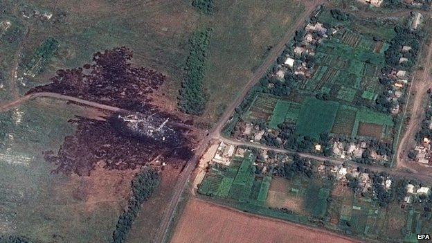A satellite photograph of the MH17 crash site