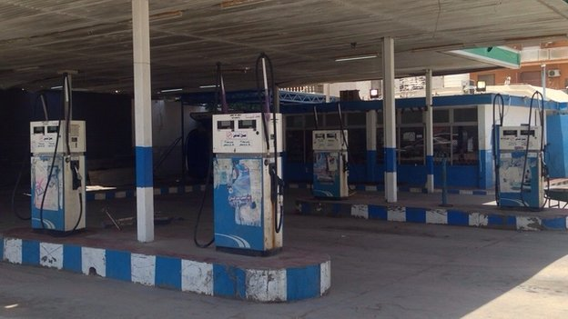 An empty garage in Tripoli, Libya