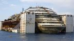 The Costa Concordia cruise liner is seen during its refloat operation at Giglio harbour