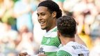 Virgil Van Dijk is congratulated after putting Celtic in front against KR Reykjavik