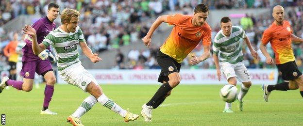 Teemu Pukki scores Celtic's fourth as the Scottish Champions brushed aside KR Reykjavic.