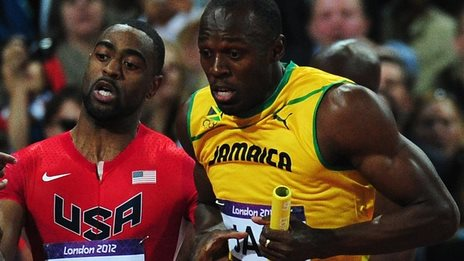 Usain Bolt (right) and Tyson Gay in action during the London 2012 Olympics