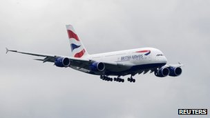 British Airways (BA) Airbus A380 comes in to land at Heathrow airport