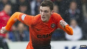 Andrew Robertson in action for Dundee united