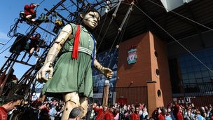 The Little Girl Giant at Anfield