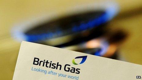 British Gas bill & flame