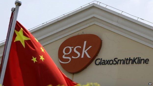 Chinese flag and Glaxosmithkline logo