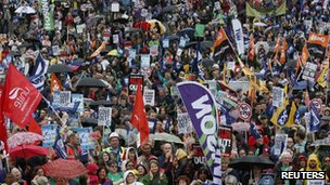 Striking public sector workers protest in Trafalgar Square on 10 July