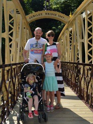 Family on Jubilee Bridge