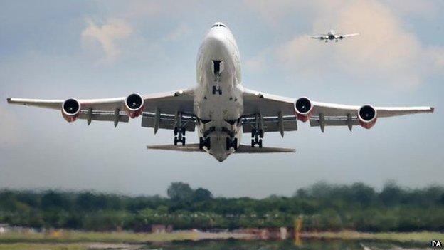 A passenger jet taking off