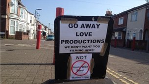Sign on a street in Southampton telling Love Productions not to film there