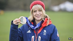 Jenny Jones with her Olympic bronze medal