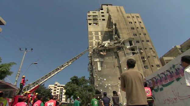 Shell damage in Gaza