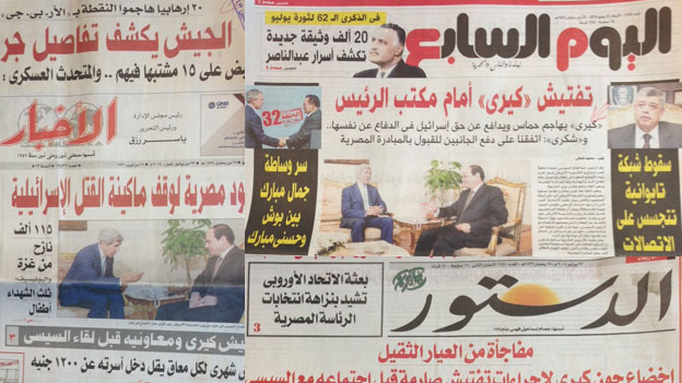 Egyptian newspaper front pages