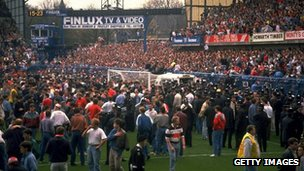 Ambulance on the pitch at Hillsborough