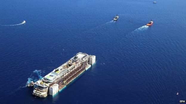 The Costa Concordia being towed on its final journey to the port of Genoa (23 July 2014)