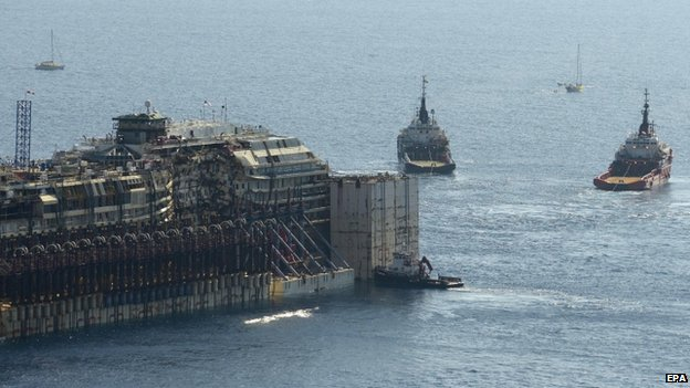 Two tugboats tow the Costa Concordia off the coast of Giglio Island