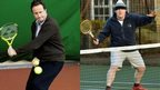 David Cameron and Boris Johnson playing tennis