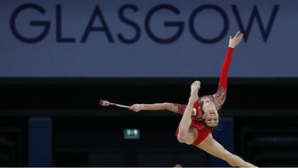 Gymnast training for 2014 Commonwealth Games in Glasgow