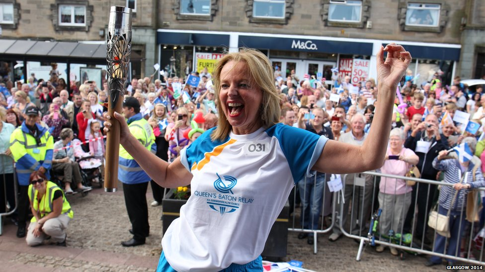 Clare Grogan with Queen's Baton