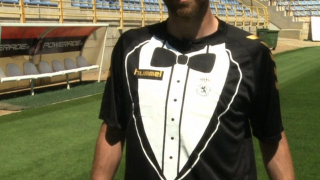 Spanish club Cultural Leonesa's new 'tuxedo' shirt