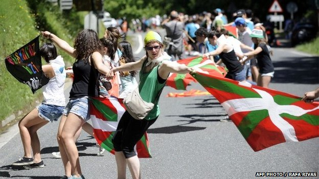 A protest calling for a referendum on Basque self-determination in the village of Mondragon, northern Spain
