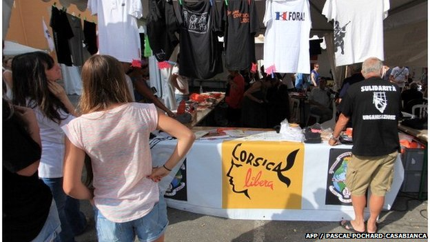 Corsican nationalist t-shirts on sale in Corte, Corsica