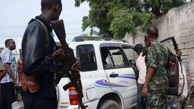 The car in which Saado Ali Warsame was shot dead, Mogadishu, Somalia - Wednesday 23 July 2014