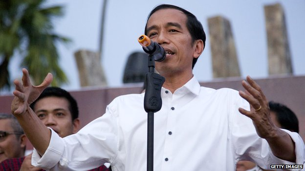Joko Widodo speaks to his supporters on 23 July 2014 in Jakarta, Indonesia.