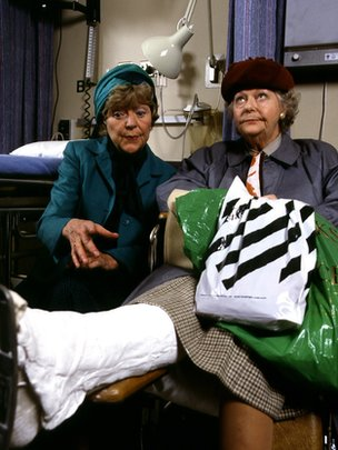 Dora Bryan and Betty Marsden in the hospital drama series Casualty