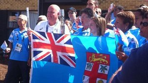 Team Fiji finally get to see the Queen's Baton