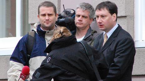 Stuart Syvret with film crew