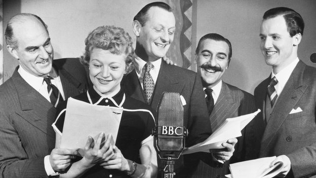 Bryan (second from left) recording Much Binding in the Marsh in 1953 with Kenneth Horne, Richard Murdoch, Sam Costa and Nicholas Parsons