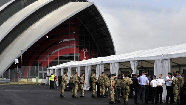 Army personnel at the Clyde Auditorium