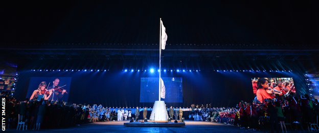 The Commonwealth flag is raised during the opening ceremony of the 2014 Commonwealth Games