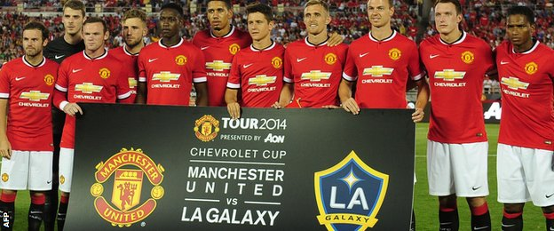 Manchester United team against LA Galaxy