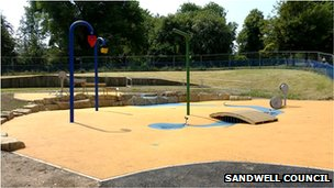 new splashpad at Dartmouth Park in West Bromwich