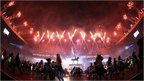 Fireworks during Commonwealth Games opening ceremony