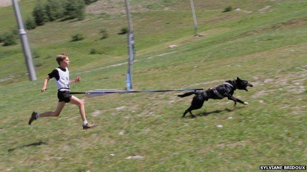 Rowan running with Henry