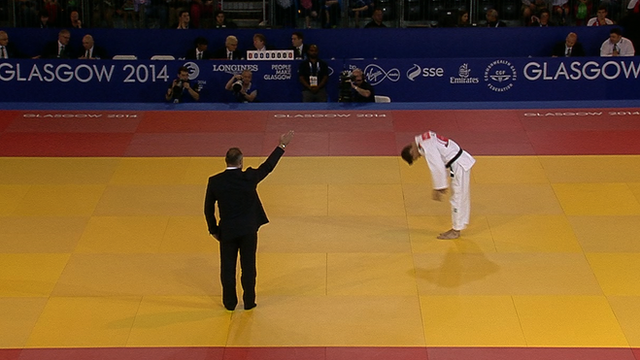 Wales's Jamie MacDonald wins his judo contest by walkover