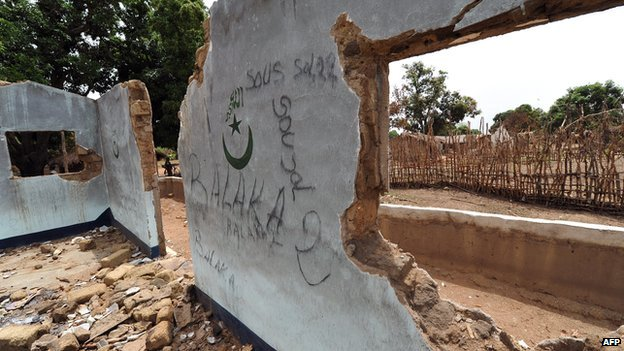 A mosque destroyed in Boyobane in CAR on 7 March 2014