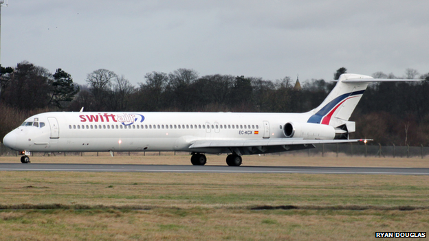An MD-83 plane at Edinburgh Airport on the 4th December 2011.