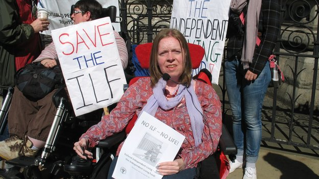 Sue Elsegood at a protest