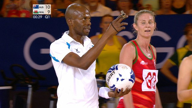 A netball referee blows for the end of the first quarter 29 seconds early during Wales' match against Australia at the 2014 Commonwealth Games in Glasgow