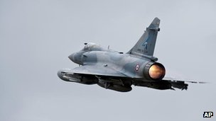 A French Mirage 2000 jet taking off for Libya from the military base of Dijon, 19 March 2011