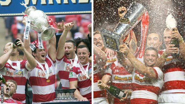 Wigan with the Challenge Cup and Super League trophies