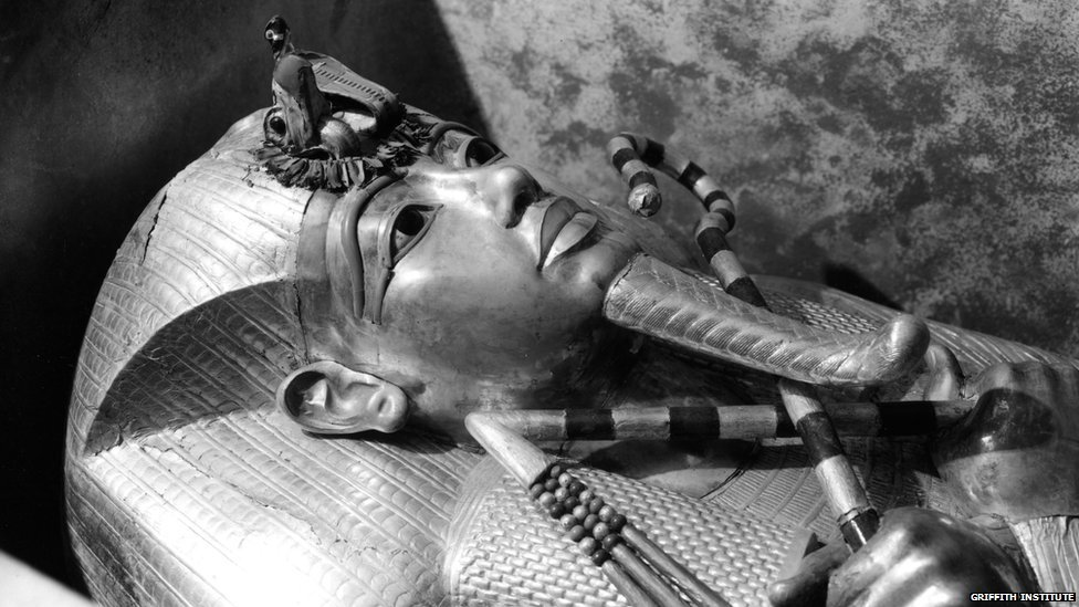The outermost coffin of Tutankhamun