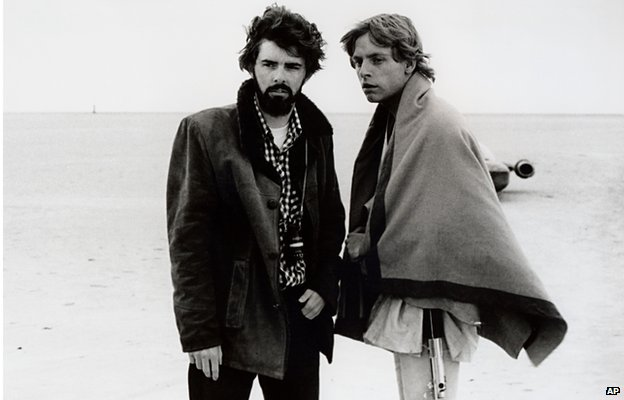 George Lucas and Mark Hamill on the set of Star Wars