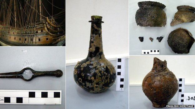 Objects found in the wreck of 'The London'