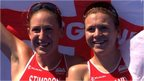 England's Jodie Stimpson and Vicky Holland celebrate